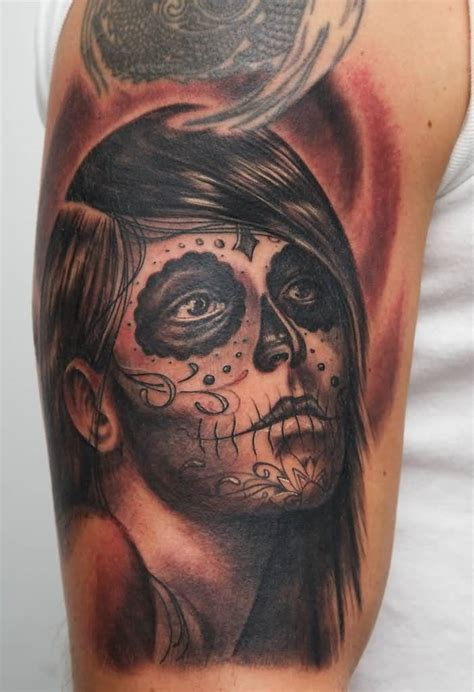 catrinas tattoo wonderful grey catrina on thigh by lovehatelondon