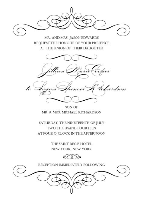 5 best images of black and white wedding invitation