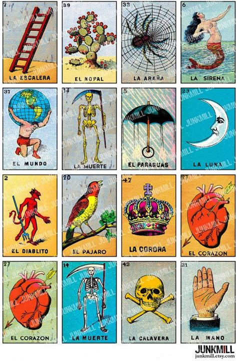 Mexican Chalupa Card Template by Loteria Digital Printable Collage Sheet Vintage By