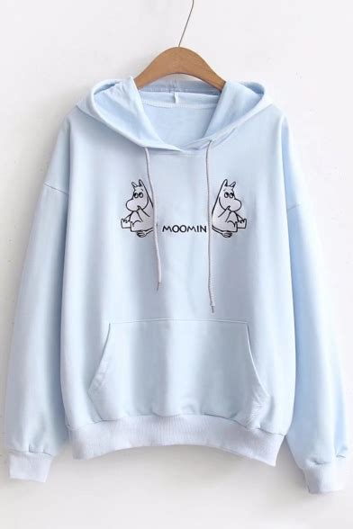 stylish pocket design embroidered hoodie new stylish hippo letter embroidered dropped shoulder