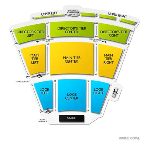 tournament of seating map irvine bowl seating chart seats