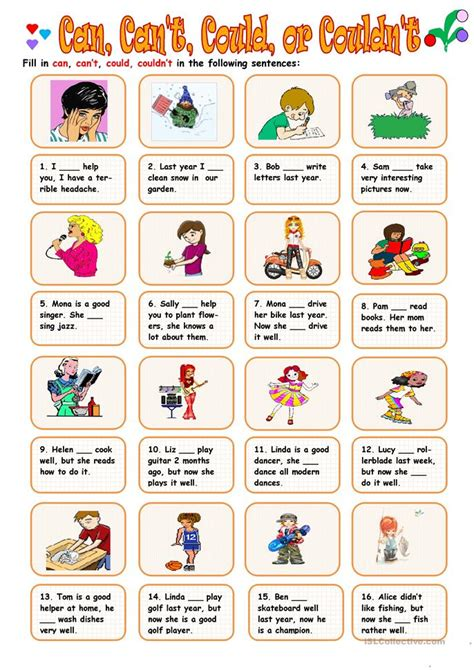 Where Can I Find For Free Can Can T Could Couldn T Worksheet Free Esl Printable Worksheets Made By Teachers