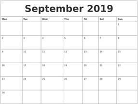 september 2019 calendar templates free