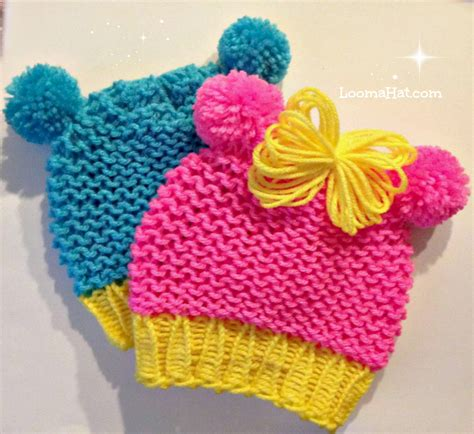 loom knit baby hat loom knit baby hat with pom pom animal ears quicker