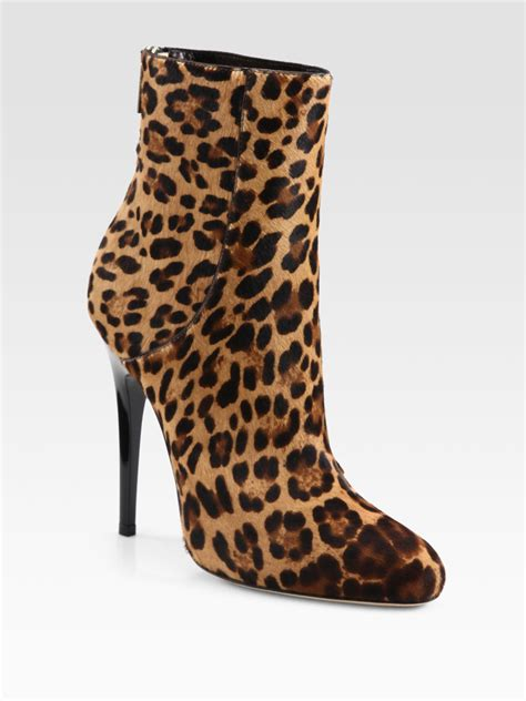 jimmy choo brinely leopard print haircalf ankle boots lyst