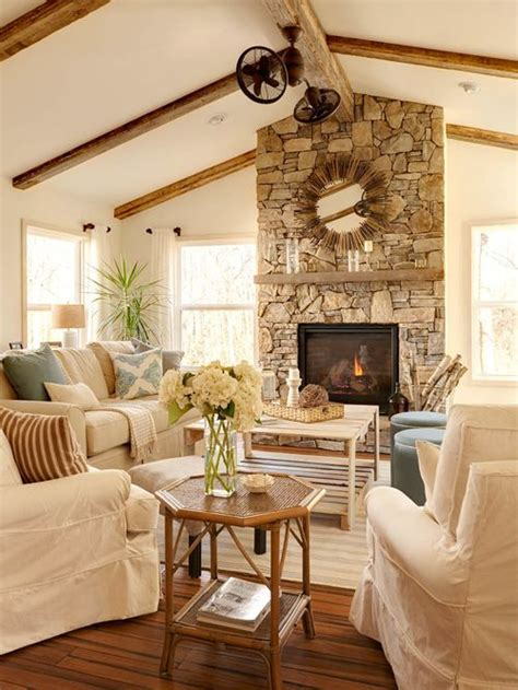 best farmhouse living room with a stone fireplace surround