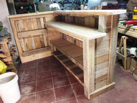 How To Build A Wood Bar Top by Diy Pallet Bar With Custom Built In Shelves 101 Pallet Ideas