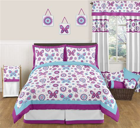 full size teenage bedroom sets purple turquoise butterfly flowers full queen size bedding
