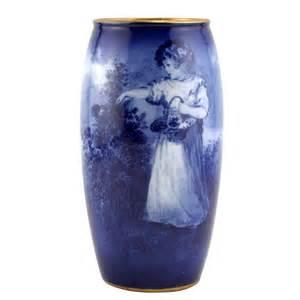 Royal Doulton Flambe Vase Blue Children Vase Scene Of Young Holding Basket Of