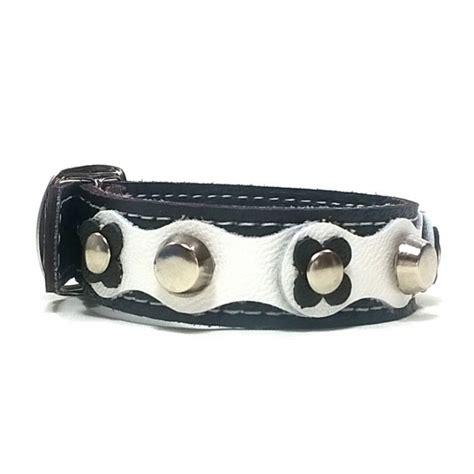pulseras originales de cuero original pulsera de cuero flowerpower con flores y remaches