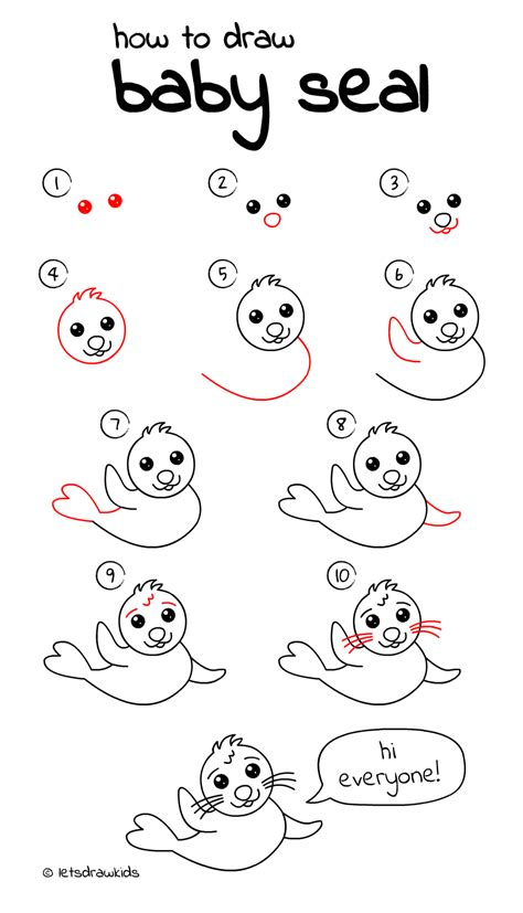 drawing step by step how to draw baby seal easy drawing step by step for let s draw
