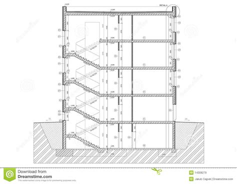 building cross section cross section of small office building royalty free stock