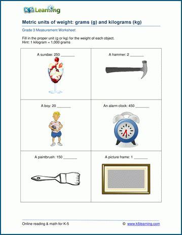 grade 3 measurement worksheets metric units of weight