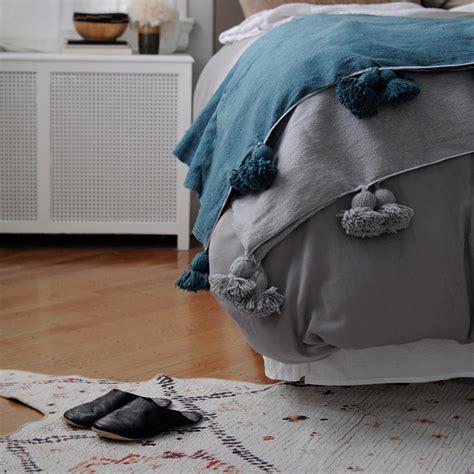 New Edition Fashion Pompom 8813 moroccan pom pom blanket chalkboard denim blue garmentory