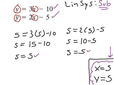 slope intercept method linsys substitution slope intercept form for both