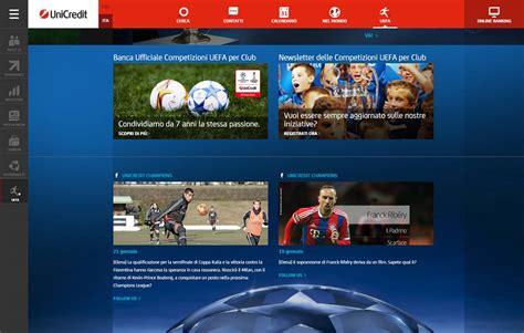 unicredit sito nuovo sito unicredit con story telling e spazio per il calcio