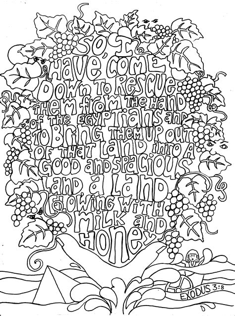exodus 3 8 adult colouring in sheets of bible verses