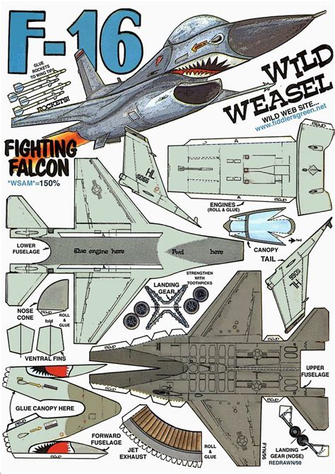 Paper Craft Aeroplane - f 16 fighting falcon http www