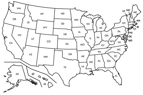 map of the united states outline valid us map states black and white geography outline