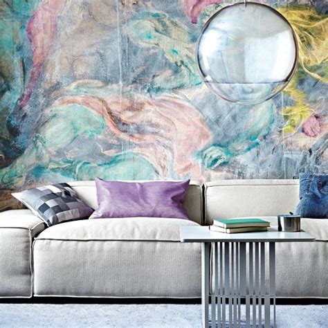 living room murals supersized watercolour living room design ideas