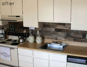 before amp after reclaimed wood kitchen backsplash design sponge
