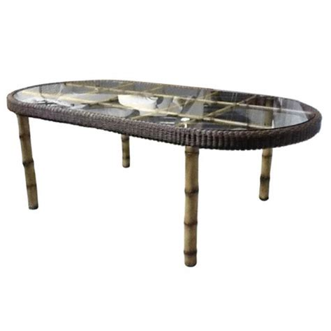 Oval Glass Top Dining Table Whitecraft S610604 South Terrace Oval Dining Table With Glass Top Discount Furniture At Hickory