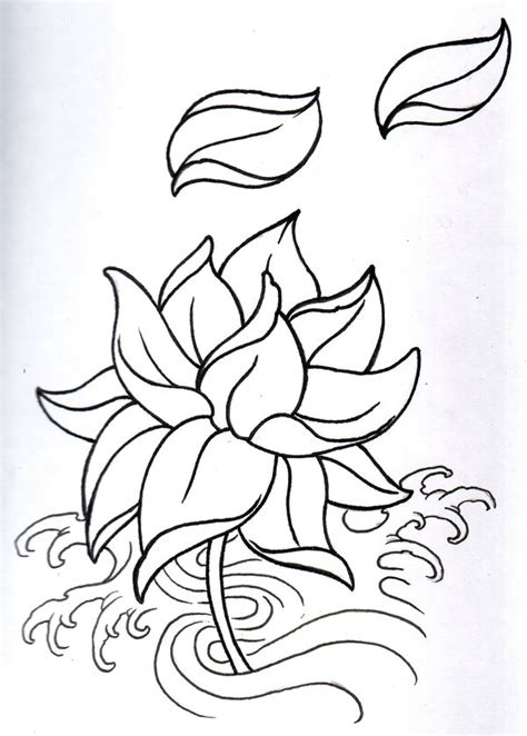 oriental tattoo outlines fantasy lotus outline by vikingtattoo on deviantart