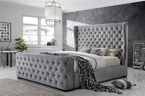 Grey Tufted Bed Frame Button Bed Frame Upholstered Button Tufted Platform Bedtaupe White Button Leather Bed