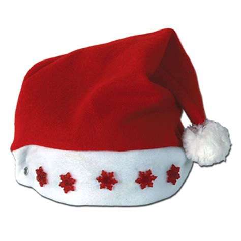santa light up red snow flake santa hat christmas