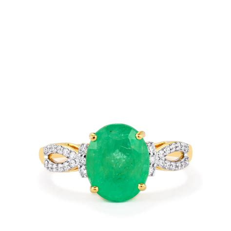 siberian emerald ring with in 18k gold 2 40cts