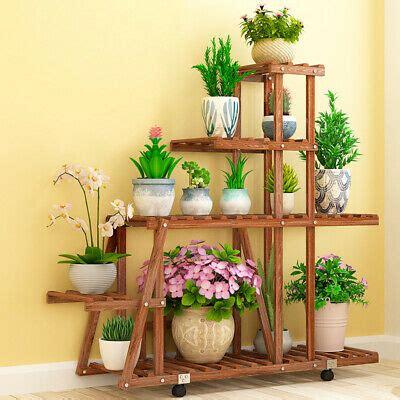 solid fir wood plant stand indoor outdoor flower holder