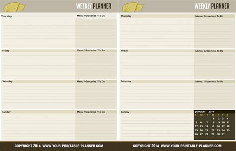 printable planner pages weekly printable blank weekly calendar 2014 calendar template 2016