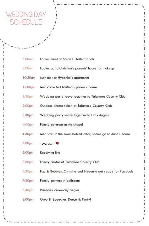 wedding day timeline schedule 36 best images about wedding schedule on pinterest