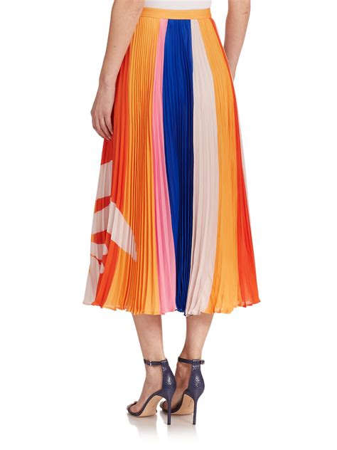 sasson printed pleated silk maxi skirt in blue
