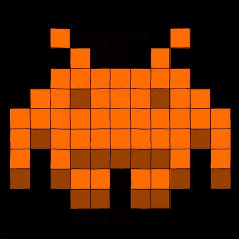 Skull Space space invader orange by grim skull on deviantart