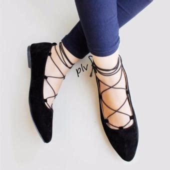 Sepatu Flat Suede Hitam sepatu wanita lucu flat shoes balet ballerina lilit hitam
