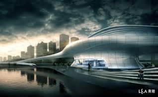 Modern pedestrian bridge design together with amazing office building