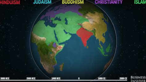 Many Religion One Vision animated map shows how five religions spread around the world