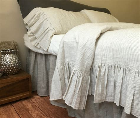 ruffle coverlet shabby chic linen ruffled duvet cover with mermaid long ruffle