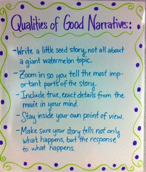 and tell the of narration books narrative writing anchor chart school subjects