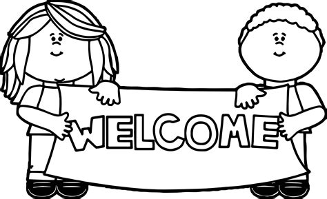 kids holding welcome sign coloring page wecoloringpage