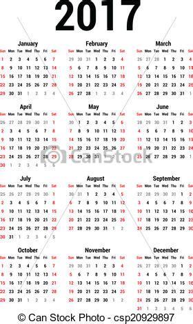 Calendario Escolar Do Ist Eps Vektoren Kalender 2017 Einfache Kalender 2017