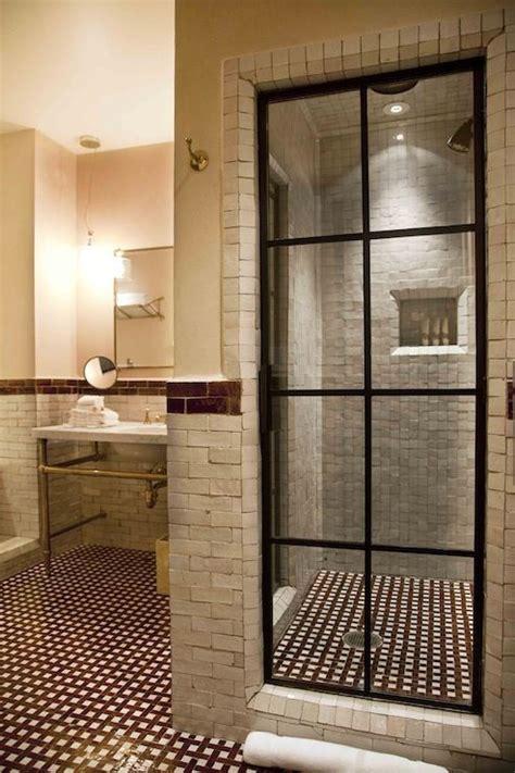 factory window shower door the greenwich hotel bathrooms steel glass paned shower