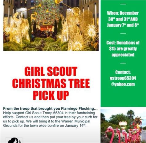 christmas tree pick up warren girl scouts ready to pick up christmas trees for