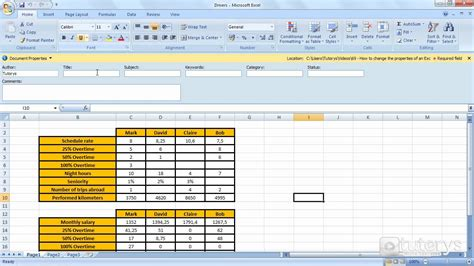 Math Set Ms 25 change document properties excel 2007 excel sheet