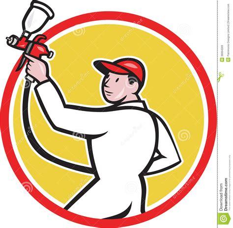 spray painter clipart painter spray paint gun side circle stock vector