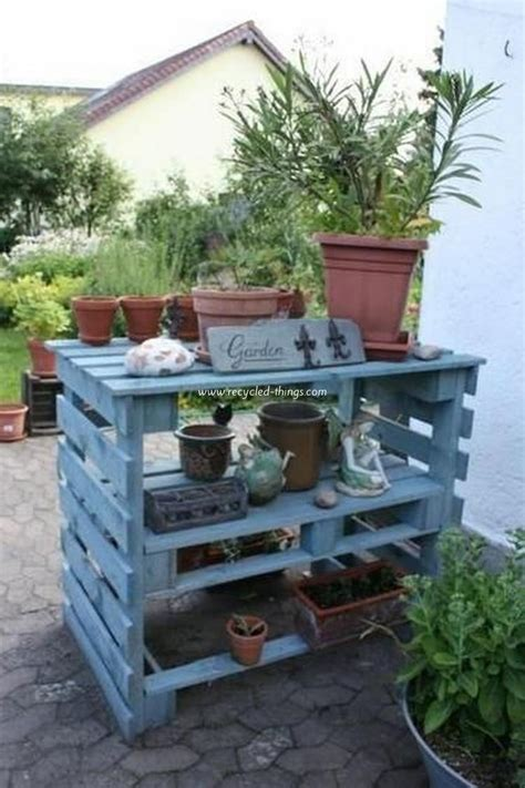 garden bench made from pallets pallet wood potting bench plans recycled things