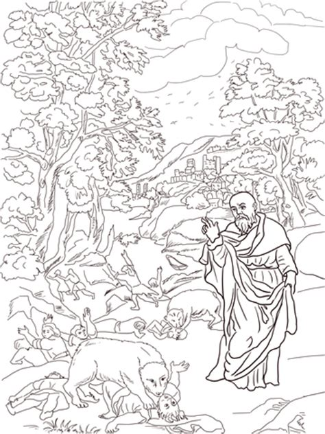 Elisha And The Bears Coloring Page Free Printable Elisha Coloring Page