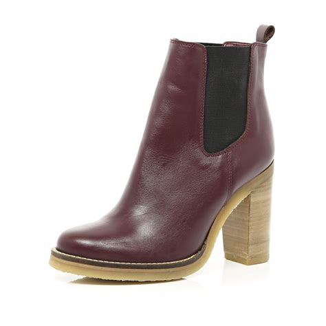 river island leather crepe sole chelsea boots in