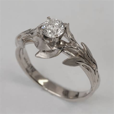 Wedding Rings Leaves by Leaves Engagement Ring No 4 14k White Gold And
